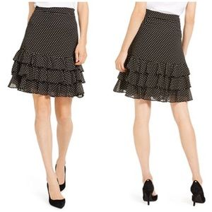Michael Kors Mini Dot Ruffled Skirt Black Size 12
